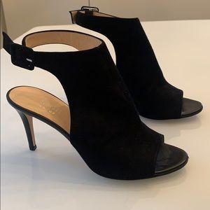 Barney's Co-op black Suede open toe heels